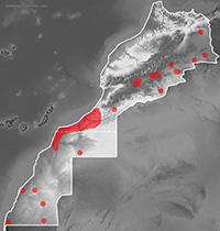 Mapa de distribución de Lytorhynchus diadema