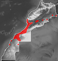 Mapa de distribución de Naja haje